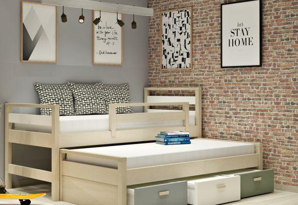 Κρεβάτι  με 2o συρόμενο κρεβατι & συρταρια